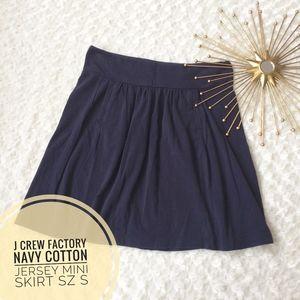 J Crew Navy Cotton Jersey Stretchy Mini Skirt Sz S